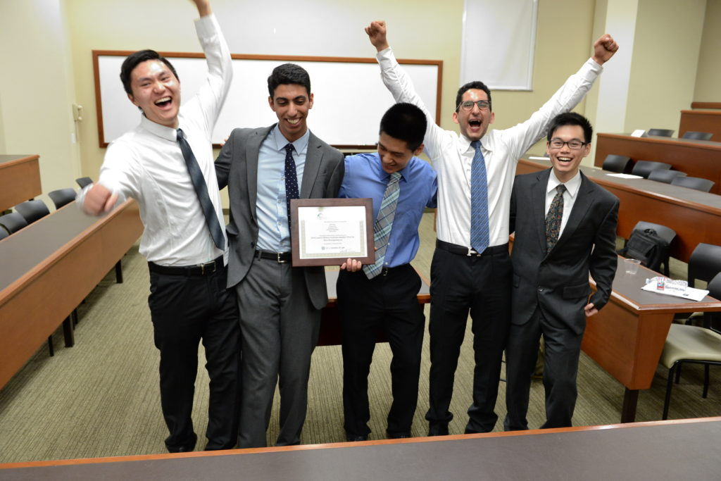 Student competition winners celebrate their victory.