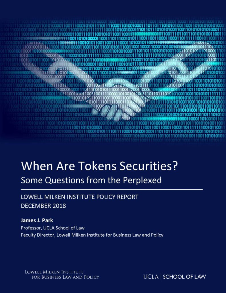 When Are Tokens Securities Cover Page